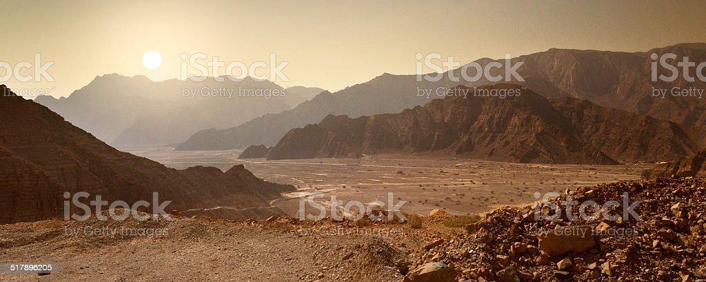 Sunrise in the Musandam desert in Oman stock photo