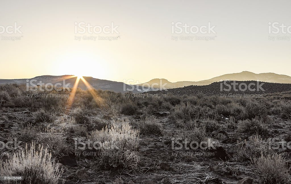 Sunrise in the Sierra Nevada Mountains landscape. stock photo