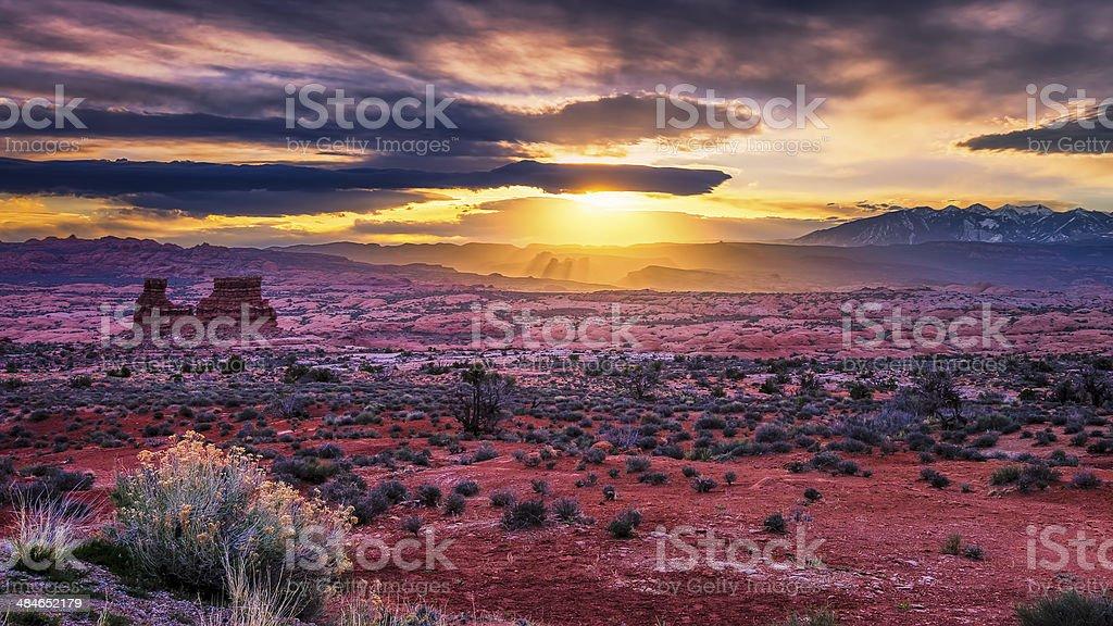 Sunrise in the Utah Desert stock photo