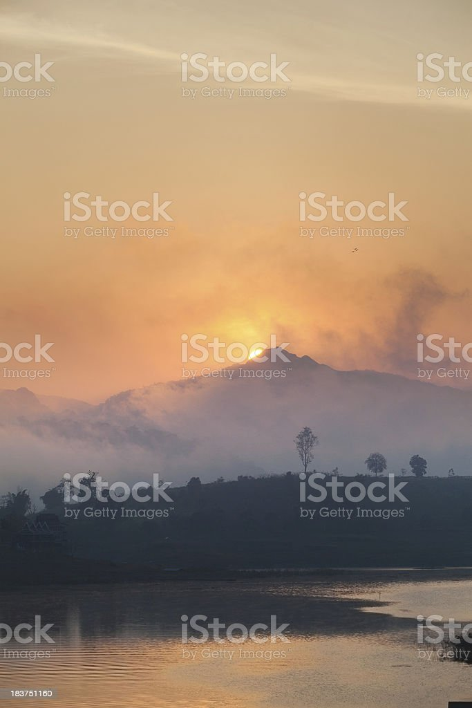 Sunrise in the West of Thailand royalty-free stock photo