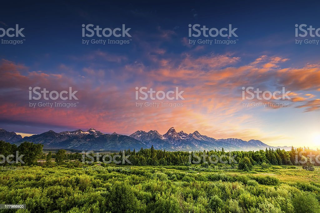 Sunrise in the Wyoming Tetons stock photo