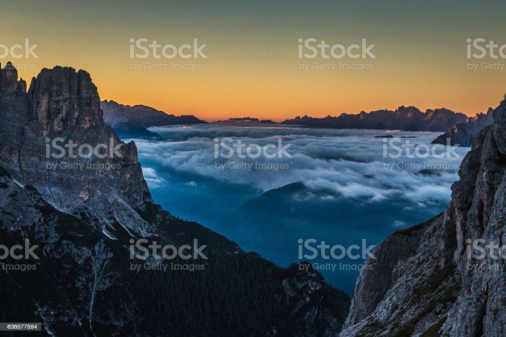 Sunrise in Tre Cime Dolomites Italian Alps stock photo