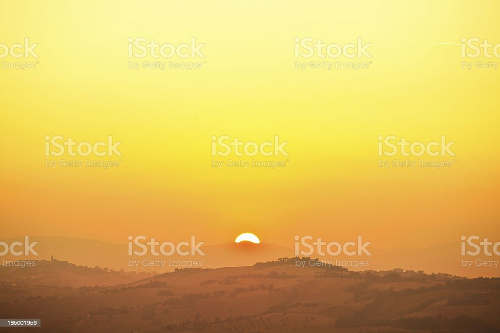 Sunrise in Tuscany Hills of Val d'Orcia royalty-free stock photo