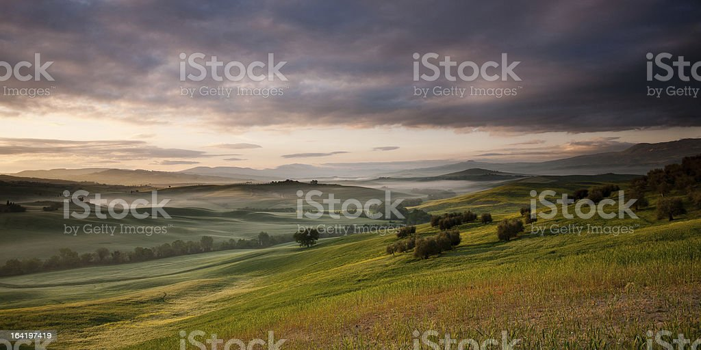 Sunrise in Tuscany royalty-free stock photo
