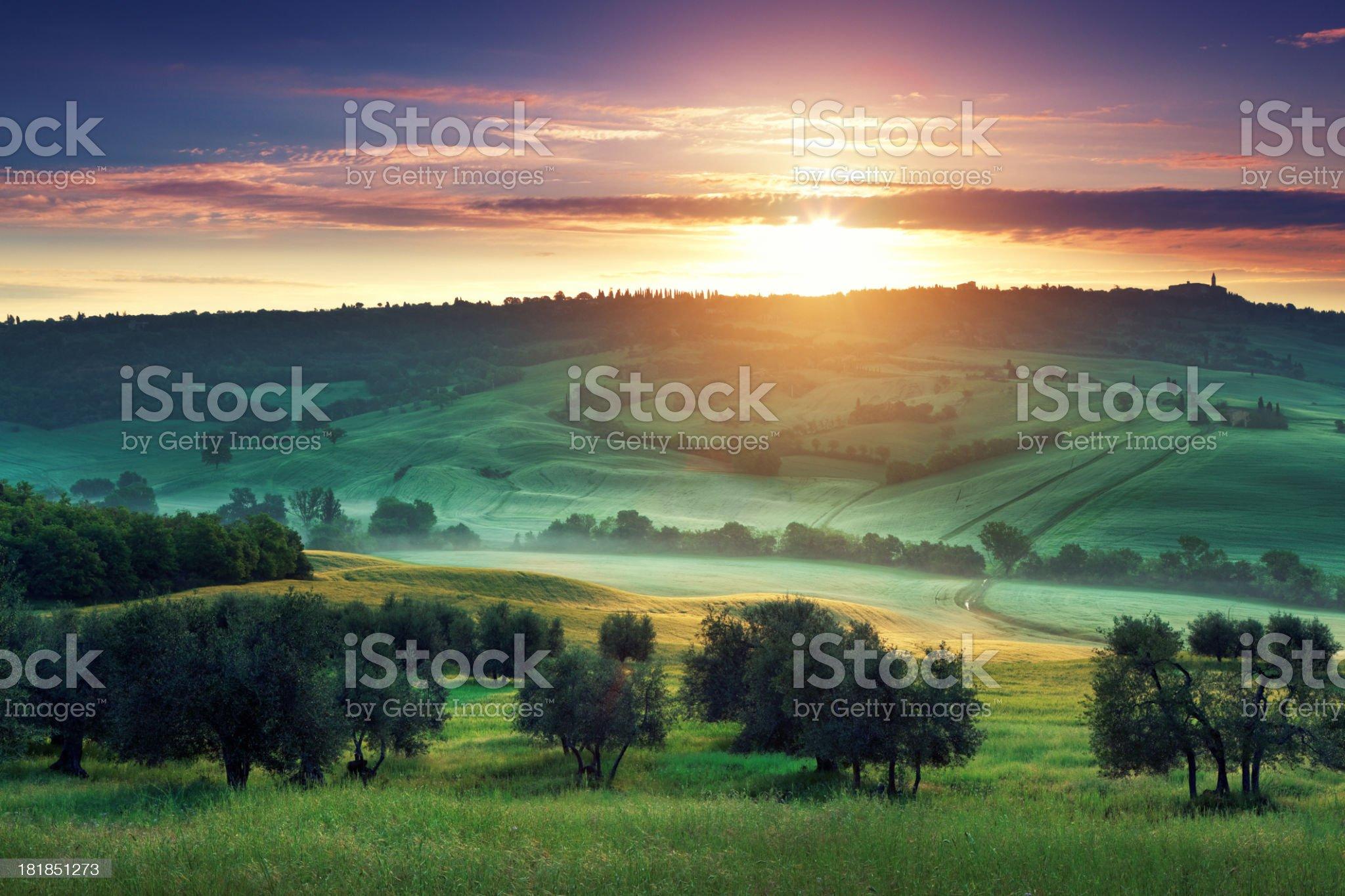 Sunrise in Tuscany royalty-free stock photo