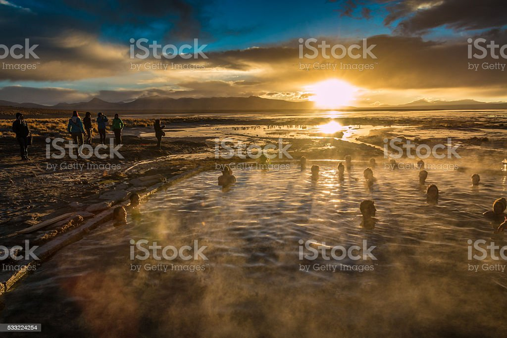 Sunrise in Uyuni Hot spring stock photo