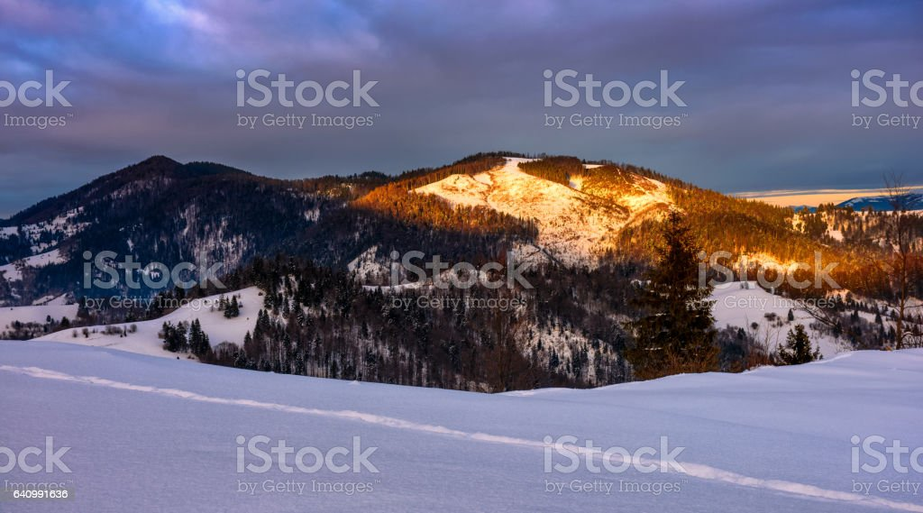 sunrise in winter carpathians stock photo
