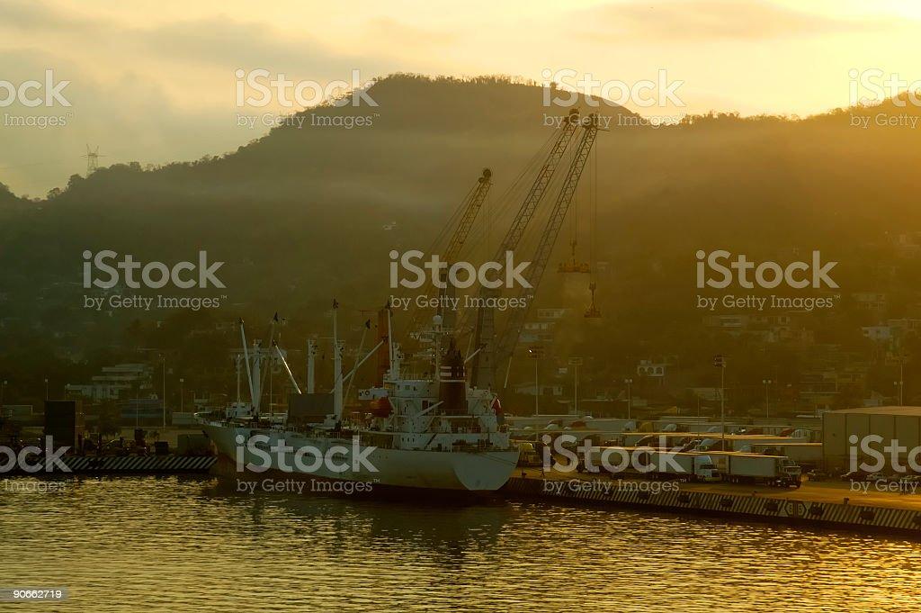 Sunrise Industrial Port royalty-free stock photo