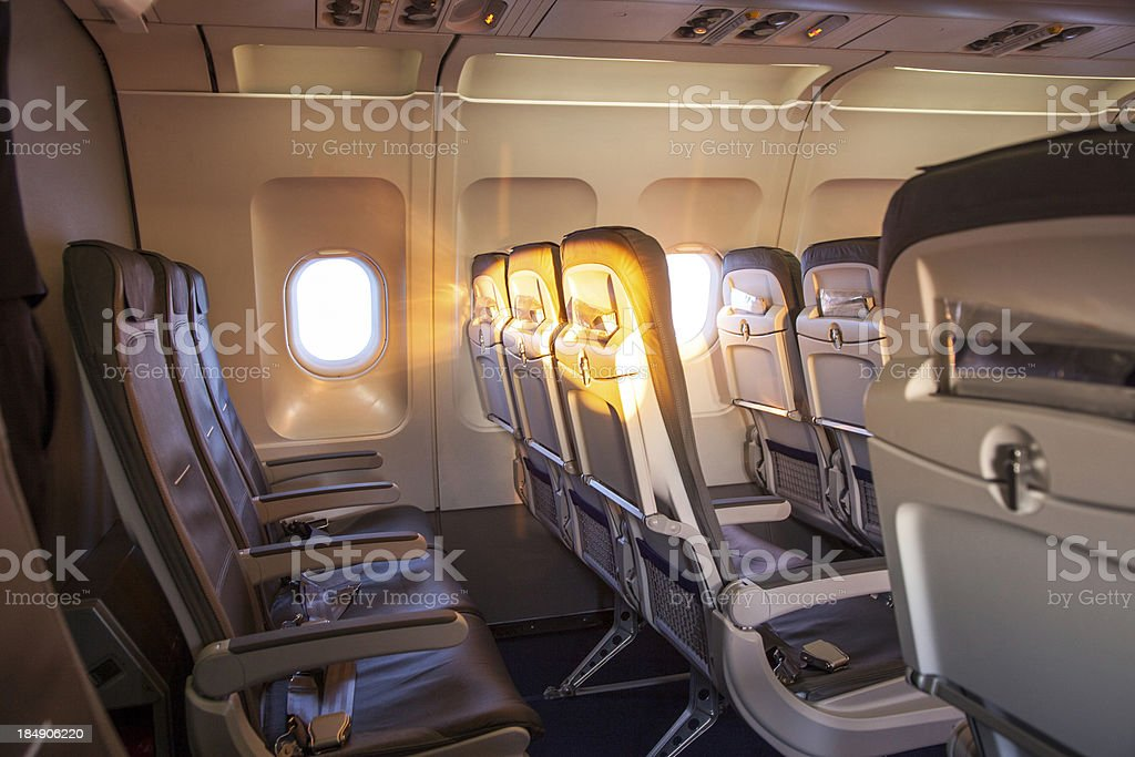 sunrise inside the cabin of a modern aircraft stock photo
