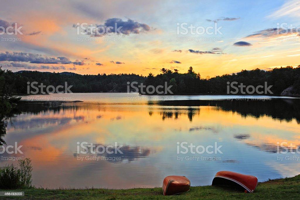 Sunrise Killarney Provincial Park stock photo