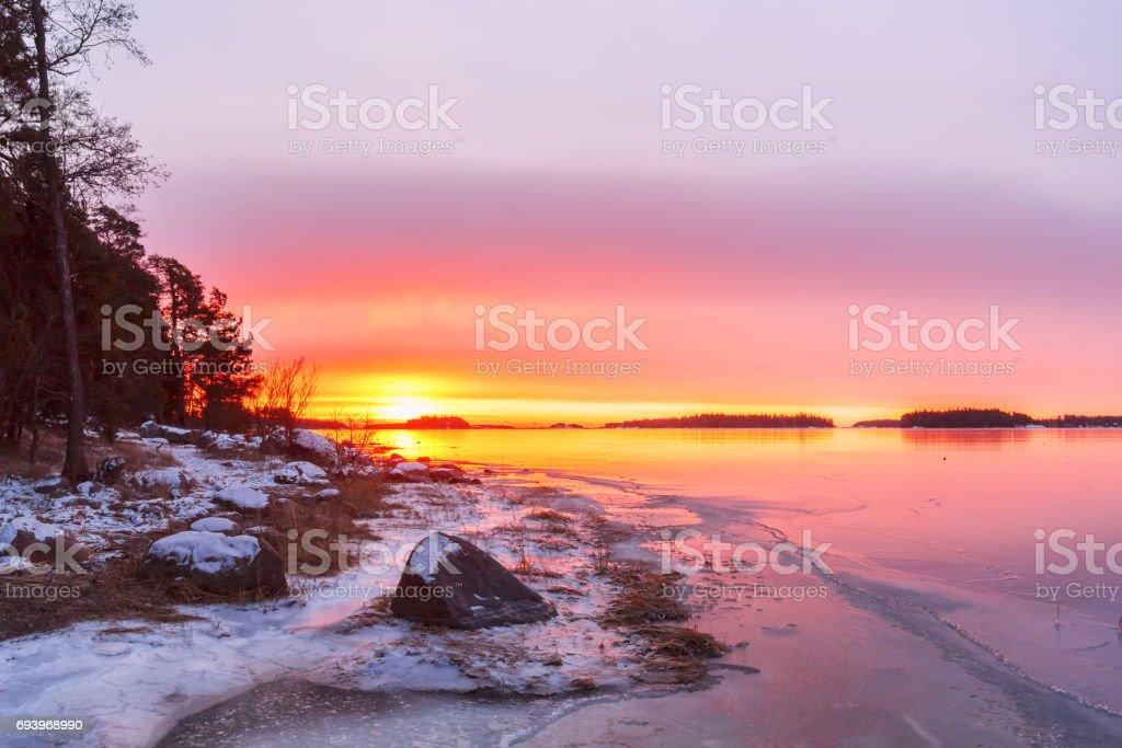 Sunrise landscape by the sea, Finland stock photo