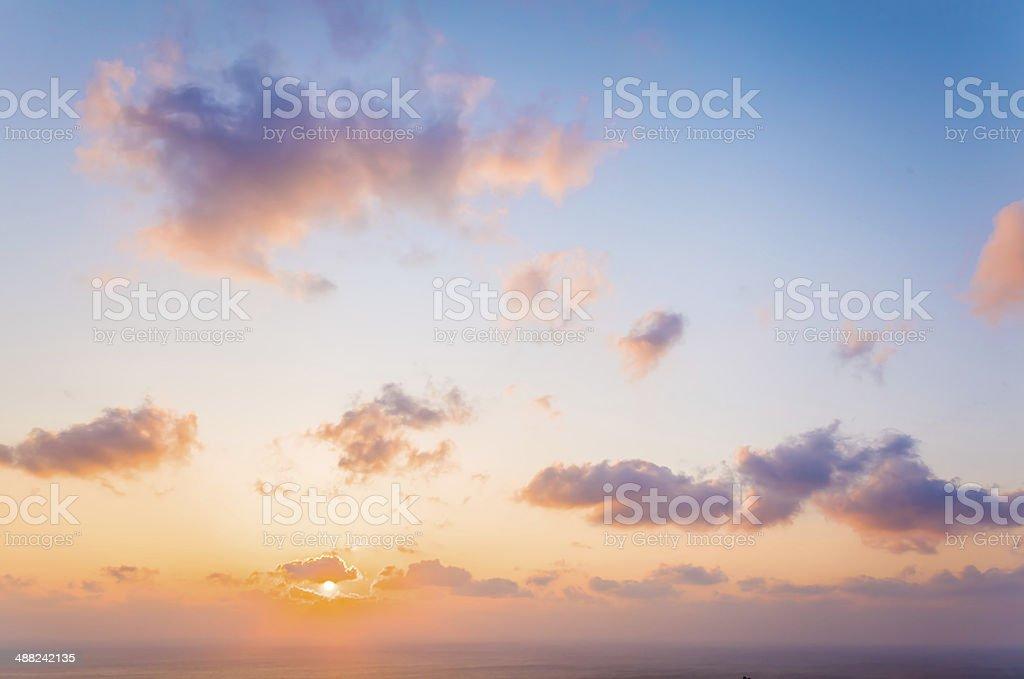 Sunrise landscape from of Jeju island, Korea stock photo