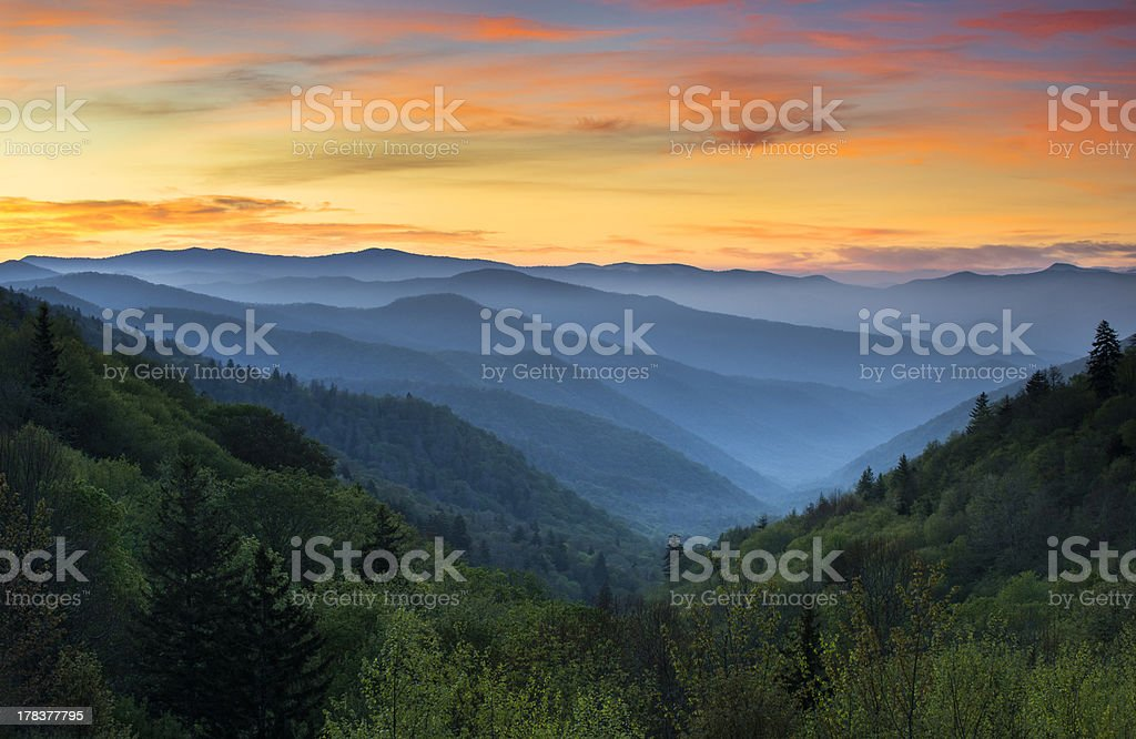 Sunrise Landscape Great Smoky Mountains National Park Gatlinburg TN stock photo