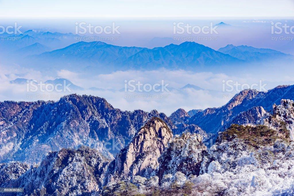 Sunrise landscape in Huangshan National park. stock photo