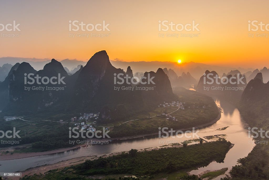 Sunrise Landscape of Guilin stock photo