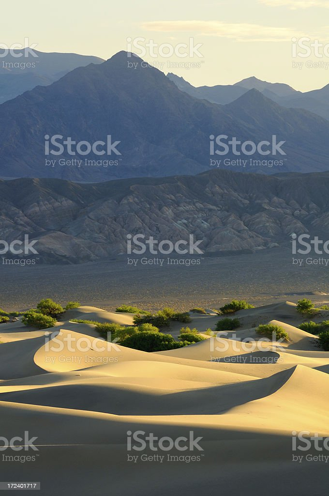 Sunrise landscape of Mesquite Flat Sand Dunes, Death Valley stock photo