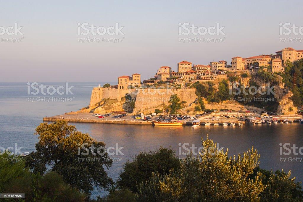 Sunrise landscape of small old town Ulcinj  at adriatic sea stock photo