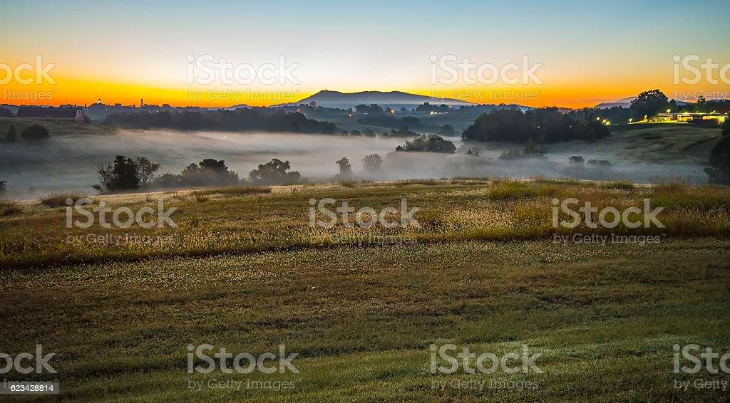 sunrise landscape over morganton town in  north carolina stock photo
