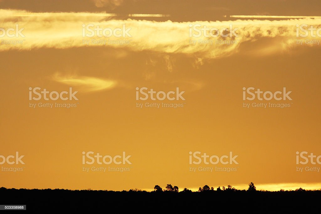 Sunrise Landscape Silhouette Mustard Sky stock photo