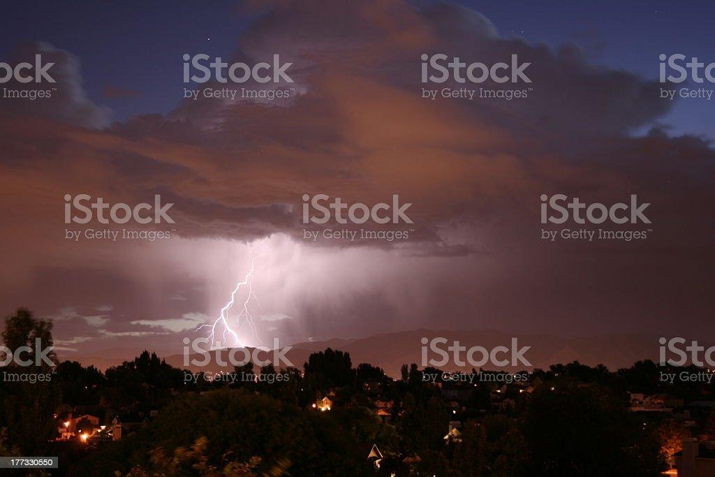 Sunrise Lightning storm2 stock photo
