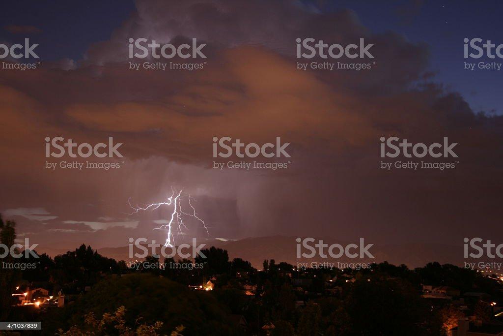 Sunrise Lightning storm3 stock photo
