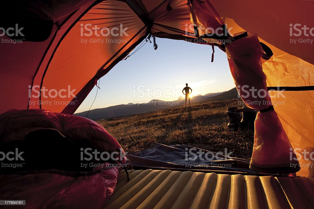 Sunrise lookout on a tent stock photo