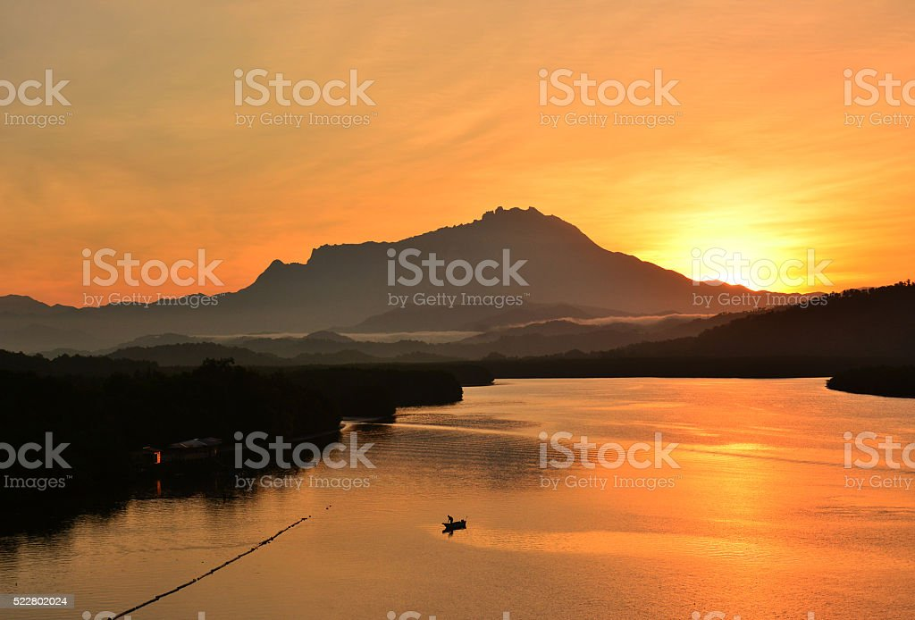 Sunrise moment in Sabah Borneo stock photo