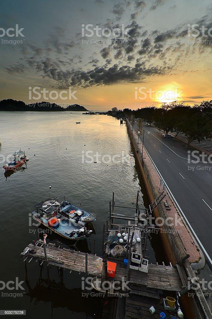 Sunrise moment of riverside, east coast of Malaysia stock photo