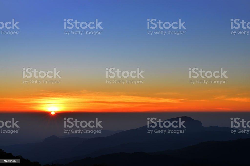 Sunrise morning at Doi Inthanon,Thailand. stock photo