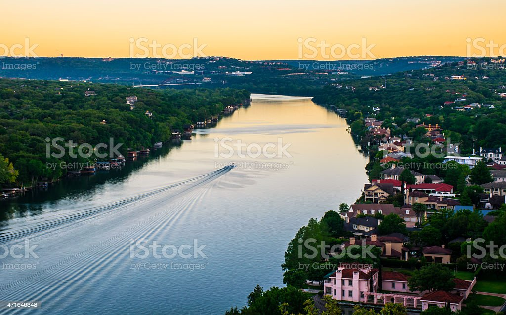 Sunrise Mount Bonnell Austin Texas Boat Ride Colorado River stock photo