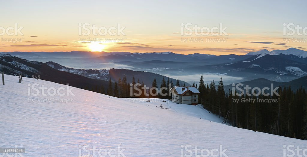 Sunrise mountain panorama royalty-free stock photo