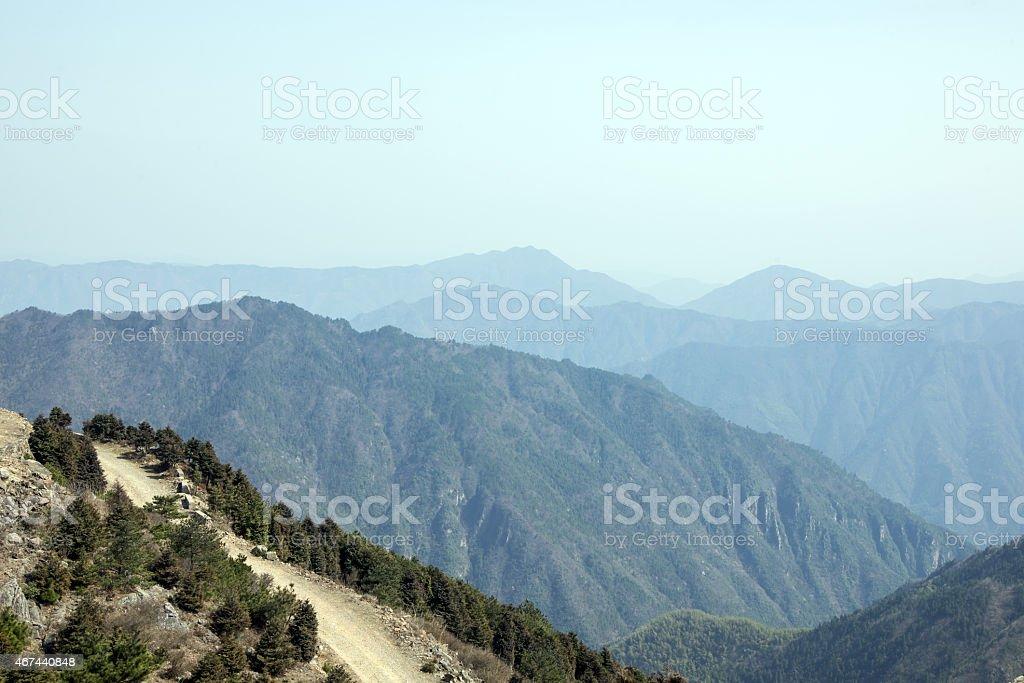 Sunrise mountain scenery stock photo