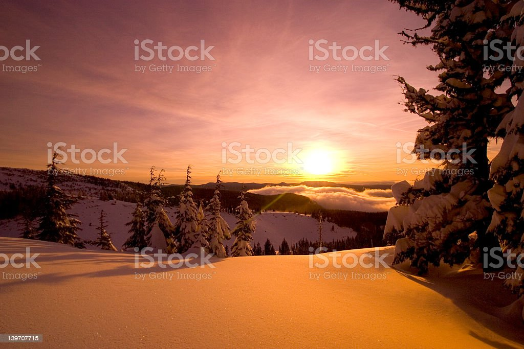 sunrise mt.hood, snow stock photo