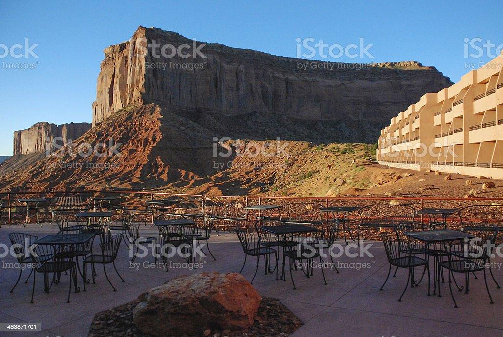 Sunrise Navajo Tribal Park Hotel Monument Valley Utah stock photo