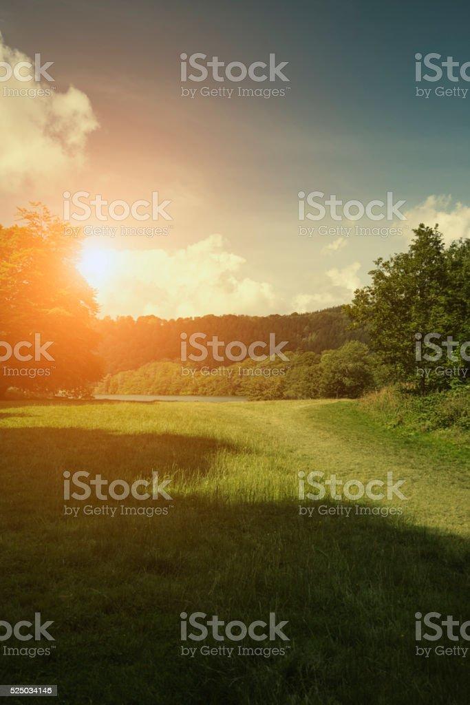 Sunrise near Lake Windermere (Lake District, England) stock photo