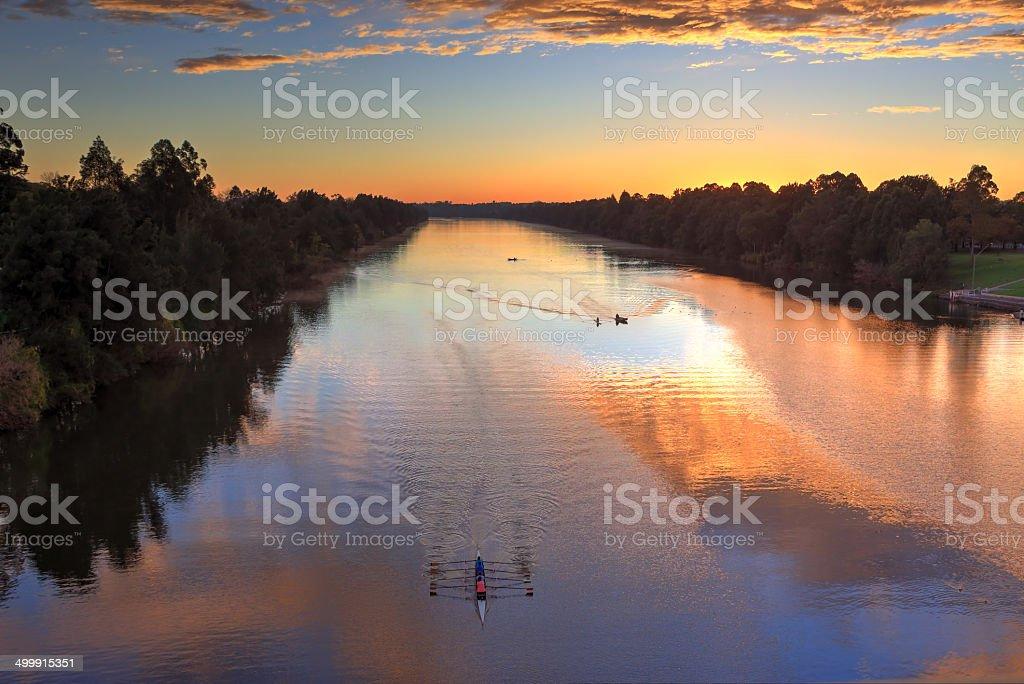 Sunrise Nepean River Penrith stock photo