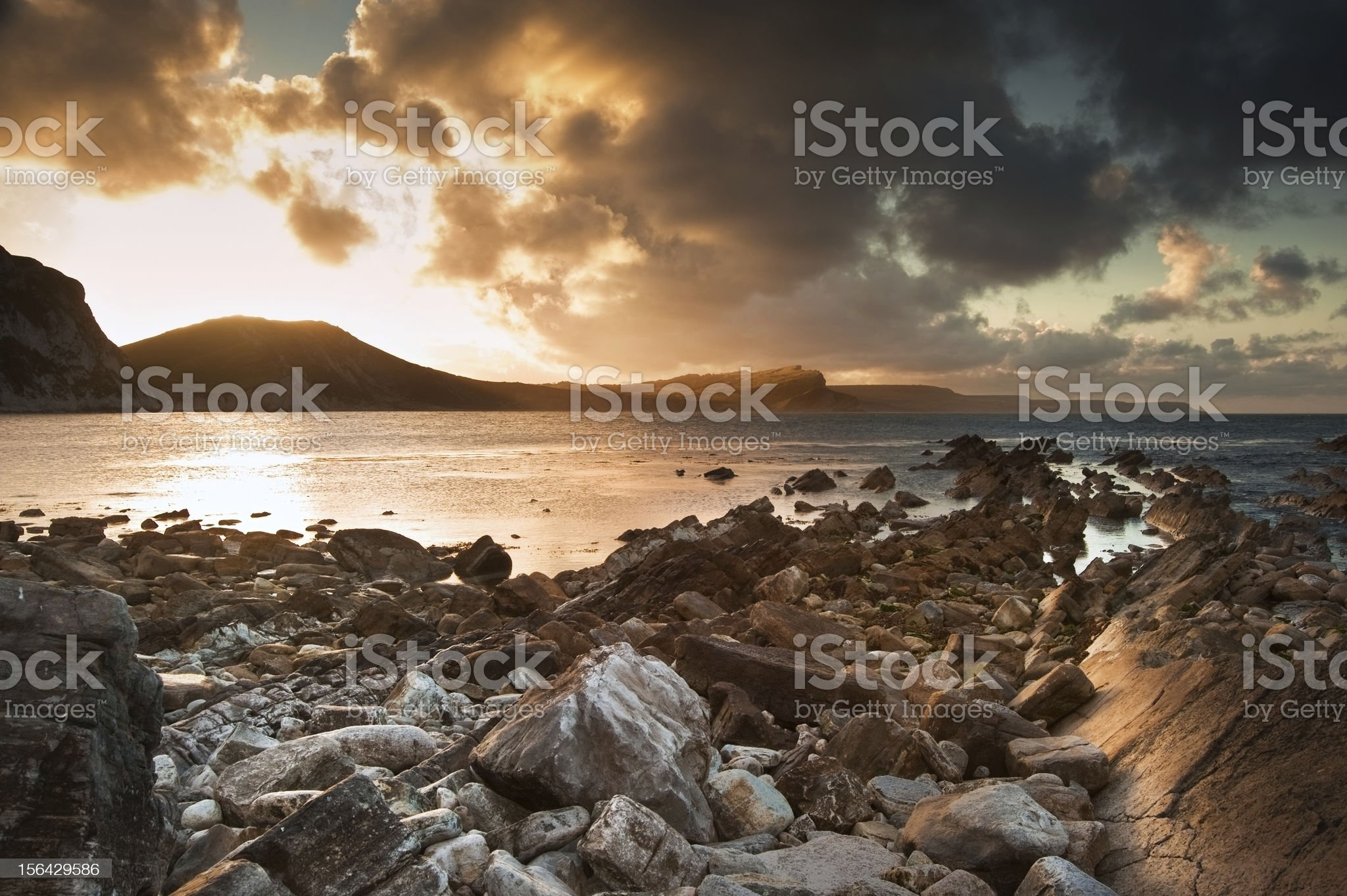 Sunrise ocean landscape UNESCO Jurassic Coast England royalty-free stock photo