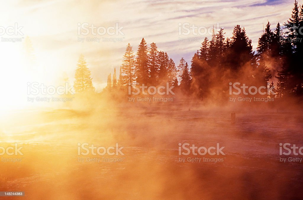 Sunrise of a foggy cold morning  stock photo