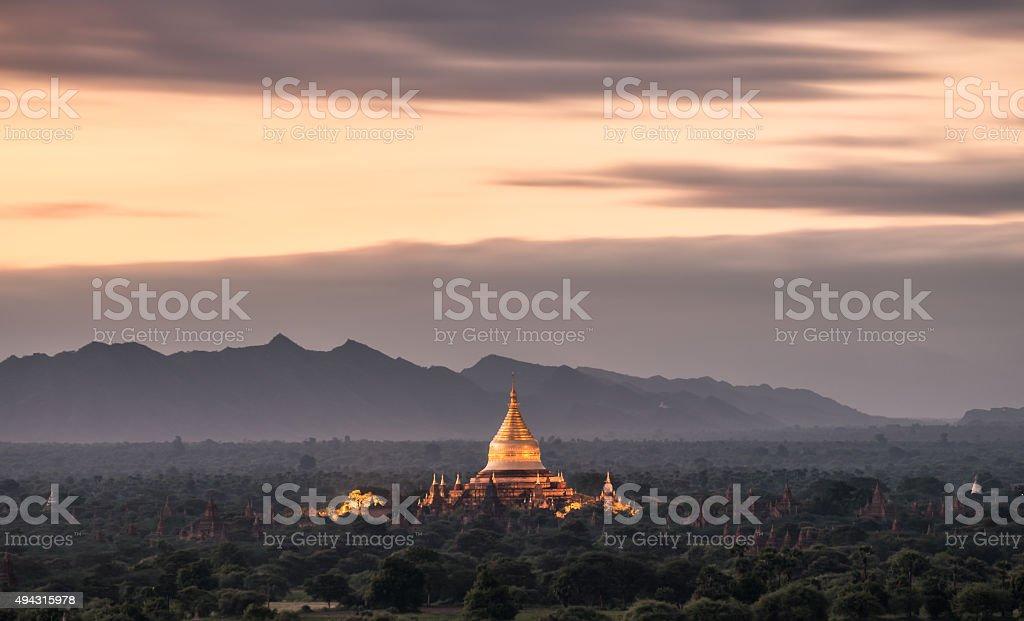 Sunrise of Bagan, Myanmar stock photo
