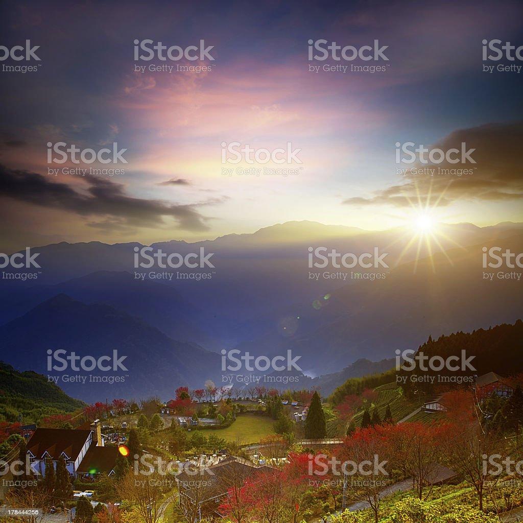 Sunrise of mountain with sakura royalty-free stock photo