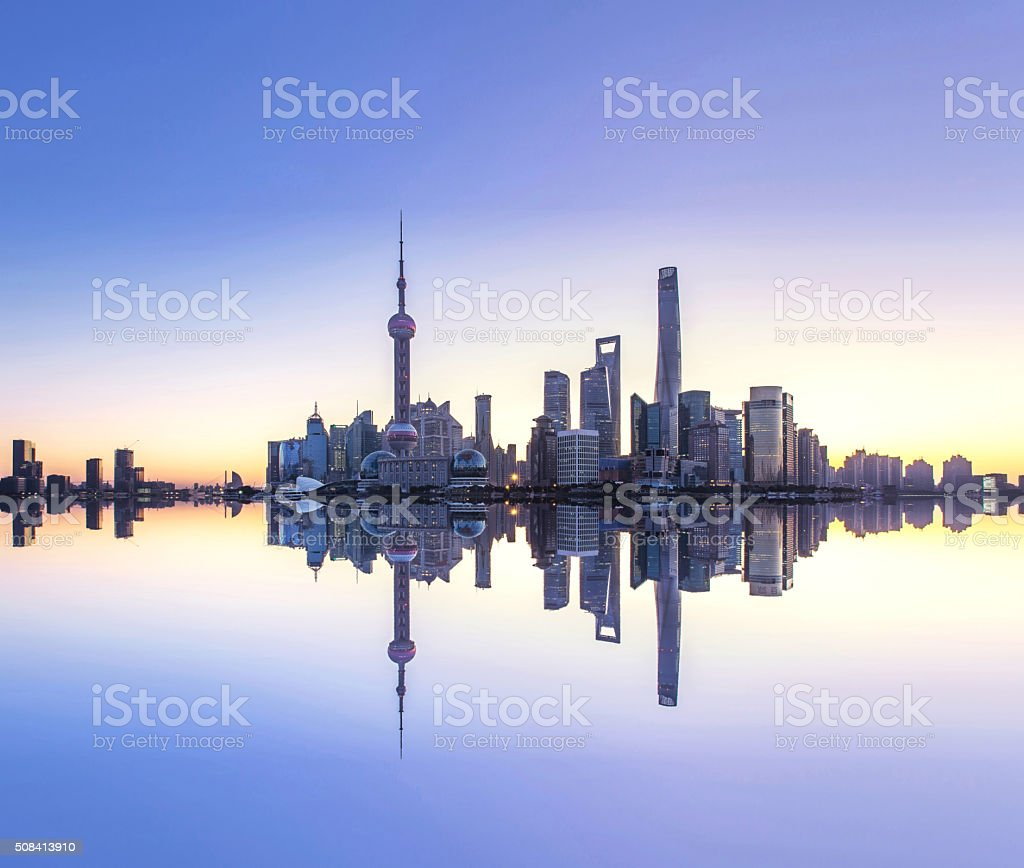 Sunrise of Shanghai Financial District Reflection in Water stock photo