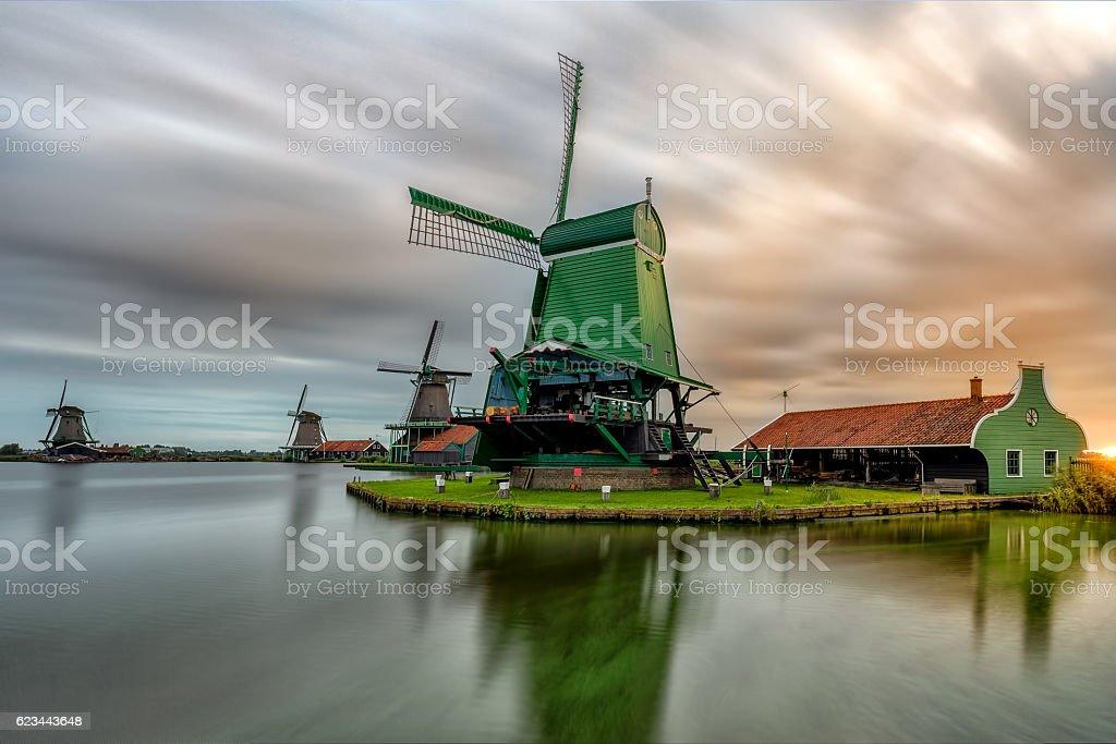 SunRise of the Zaanse Mills stock photo