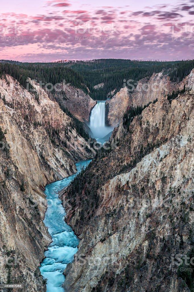 Sunrise of Yellowstone Lower Falls stock photo