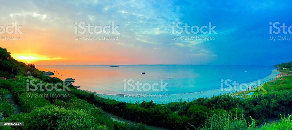 Sunrise on a beach in southern France stock photo