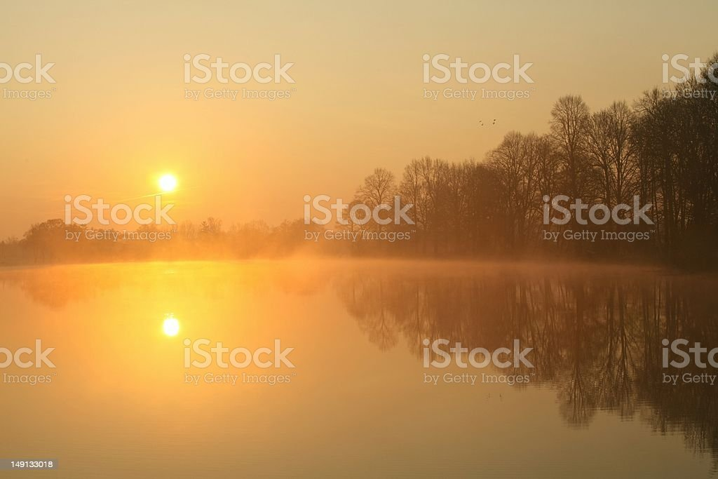Sunrise on a foggy lake royalty-free stock photo