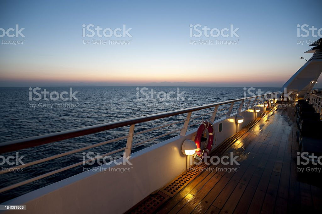 Sunrise on a luxury cruise liner stock photo