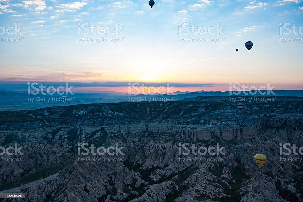 Sunrise on Balloon ride stock photo