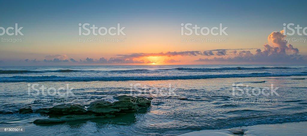 Sunrise on Beach Near St. Augustine stock photo