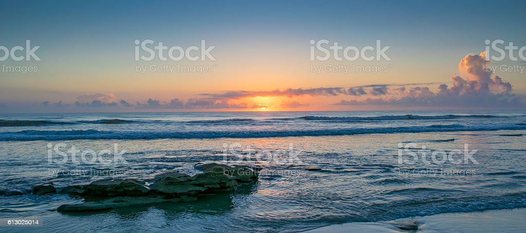 Sunrise on Beach Near St. Augustine stock photo