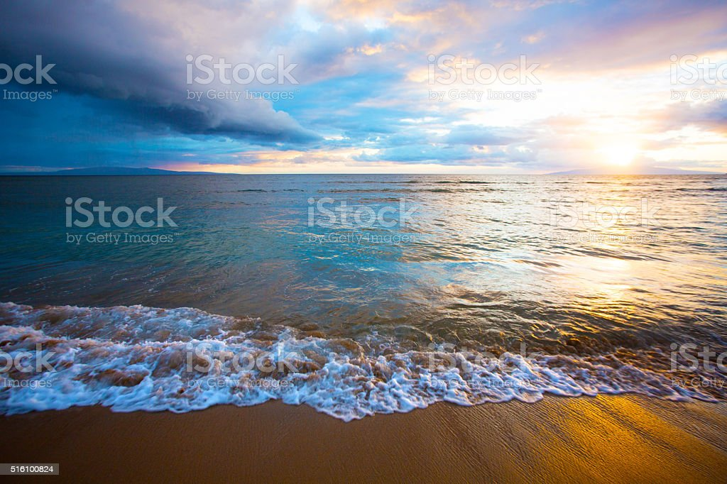 Sunrise on Beach on Maui stock photo